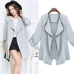 chome - Tab-Sleeve Open Front Trench Coat