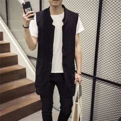 Ekinbrown - Open Front Long Vest