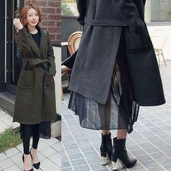 Seoul Fashion - Chiffon Layered-Hem Long Coat with Sash