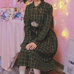 Moricode - Pompom Check Knit Long-Sleeve Dress