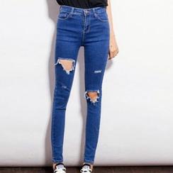 IndiGirl - 做舊窄身牛仔褲