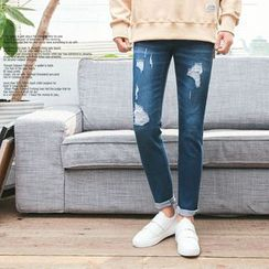 MEOSIDDA - Distressed Straight-Cut Jeans