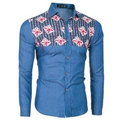 Hansel - Printed Panel Chambray Shirt