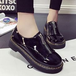 Limone - Zip Faux Leather Oxfords
