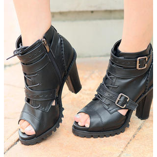 REDOPIN - Peep-Toe Buckled Ankle Boots