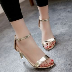 MANMANNI - Peep-Toe Ankle-Strap High-Heel Sandals
