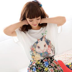 59 Seconds - Dolman Short-Sleeve Rabbit Print Top