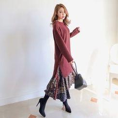 PPGIRL - Mock Two-Piece Knit Dress
