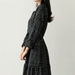 UPTOWNHOLIC - Wrap-Front Dotted Long Dress