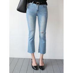 STYLEBYYAM - Cutout Detail Boot-Cut Jeans