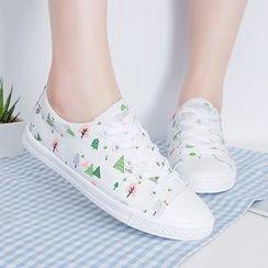 人本 - 帆布繫帶休閒鞋