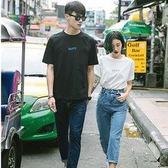 Evolu Fashion - Couple Matching Lettering Crewneck T-Shirt