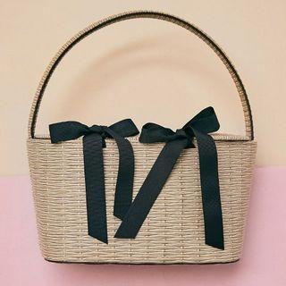 chuu - Beribboned Mock-Straw Basket Bag
