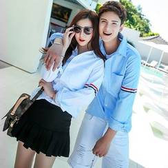 Evolu Fashion - Couple Matching Contrast Trim Shirt