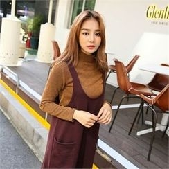clicknme - Mock-Neck Ribbed Knit Top