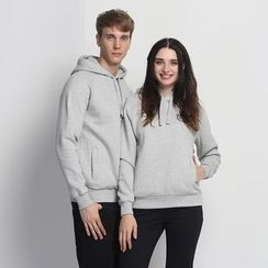 HappyTee - Hooded Drawstring Couple Pullover