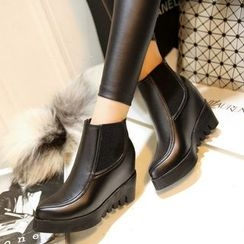 傾城 - 內增高尖頭踝靴