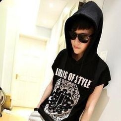 JUN.LEE - Cap-Sleeve Printed Hooded Top