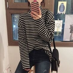 Cloud Nine - Striped Turtleneck Long Sleeve T-Shirt