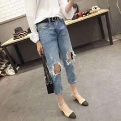 Kojasmine - Distressed Cropped Jeans