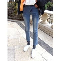 hellopeco - Washed Straight-Cut Jeans