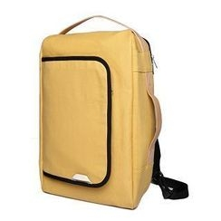MBaoBao - Faux Leather-Strap Canvas Backpack