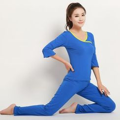 Tamtam Beach - Yoga Set: 3/4-Sleeve Contrast-Trim Top + Pants