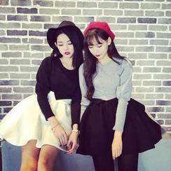 QZ Lady - Set: Puff-Sleeve Top + Ruffle Trim Skirt