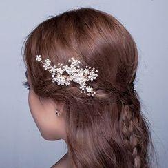 Suaylla - Bridal Rhinestone Faux Pearl Hair Comb