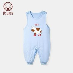 Yobaby - Baby Cow Printed Sleeveless One-piece