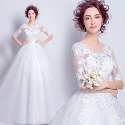 Angel Bridal - Elbow-Sleeve Wedding Dress