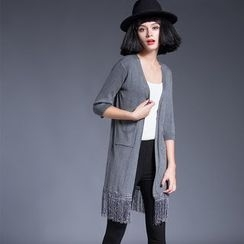 LANA - Fringed 3/4-Sleeve Long Cardigan
