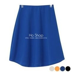 Ho Shop - Band-Waist A-Line Midi Skirt
