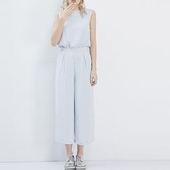 LUIMINE - Sleeveless Wide-Leg Cropped Jumpsuit