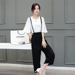 Sienne - Set: 3/4 Bell Sleeve Top + Cropped Wide Leg Suspender Pants