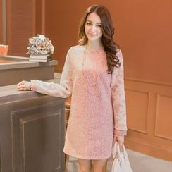 Tokyo Fashion - Lace-Sleeve Tweed Dress