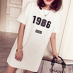 Fashion Street - Maternity Number Short-Sleeve T-shirt Dress