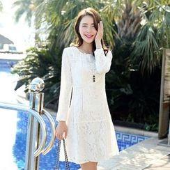 Romantica - Long-Sleeve A-Line Lace Dress