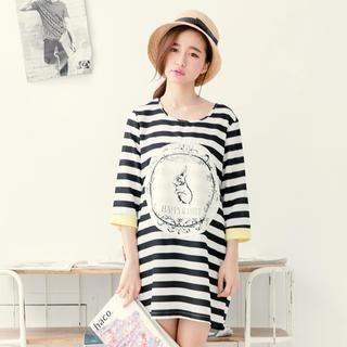 Tokyo Fashion - Contrast-Cuff Appliqué Striped Tunic