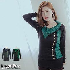 RingBear - Knit Panel Long-Sleeve T-Shirt
