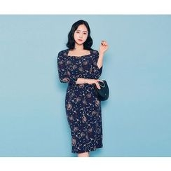 HOTPING - Square-Neck Pattern Dress