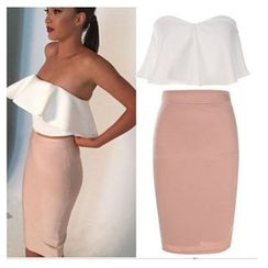 HOTCAKE - Set: Ruffle Tube Top + Pencil Skirt