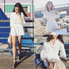 YOSH - Embroidered V-Neck 3/4 Bell Sleeve Playsuit