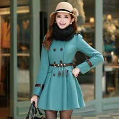 Mooiee - Belted Coatdress with Neckwarmer