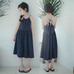Cuckoo - Kids Floral Print Halter Midi Dress