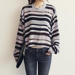 NANING9 - Sheer Stripe T-Shirt
