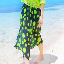 Xiaowei - Polka-Dot Pleated  Maxi Skirt