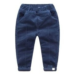 DEARIE - Kids Plain Band Waist Corduroy Pants