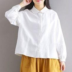 Queen Bee - Frill Trim Peter Pan Collar Shirt