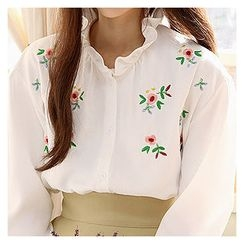 Sechuna - Frilled-Detail Floral-Embroidered Shirt